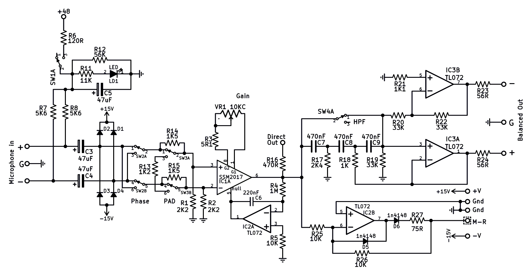Australian Technical Production Services Amplifier Circuit Diagram Projects Microphone Pre With Led Level Meter Project Description