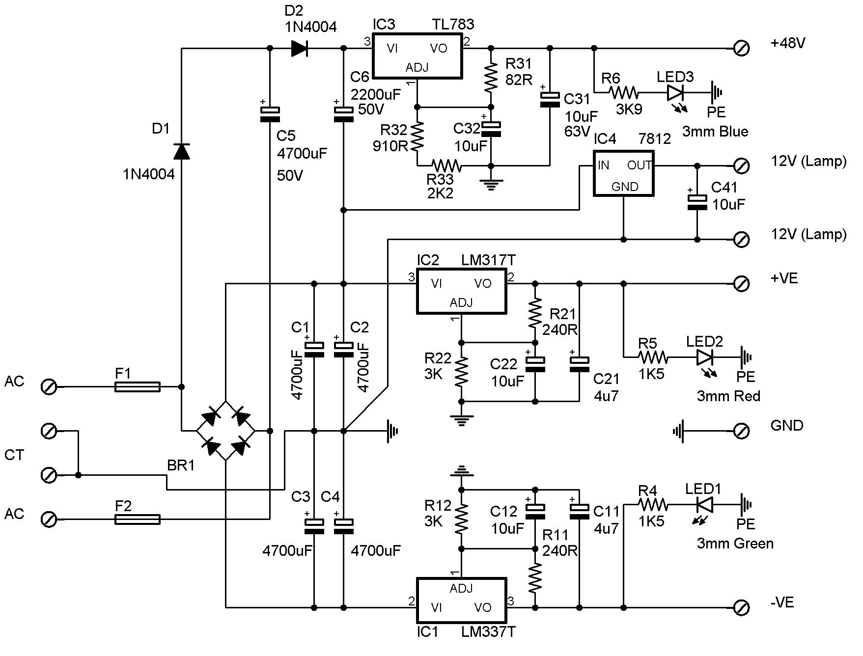 Small Desk Supply Phantom Power Schematic Circuit Description
